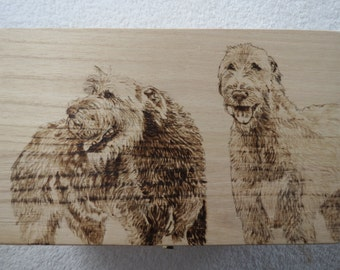 Irish Wolfhound Pet Memorial Keepsake Boxes Hand Pyrography Made to Order by Pigatopia