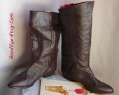 Vintage Flat PIXIE Knee Boots / Size 10 M Eu 42 UK 7 .5 JOYCE /Flat Pirate Cuff Slouch Boot / Chocolate Brown Leather / made Argentina