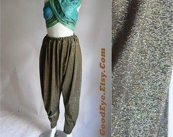 Vintage GENI Pants Metallic Gold / MC Hammer Stretch Waist 22 to 40 inch / Small Medium Large / Peg Leg Jodhpur 1980s 90s / One Size