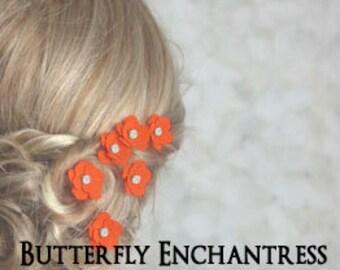 Bridal Hair Accessories, Wedding Flowers, Bride Bridesmaid Favor Gift - 12 Fire Orange Mini Buttercup Flower Hair Pins - Rhinestone
