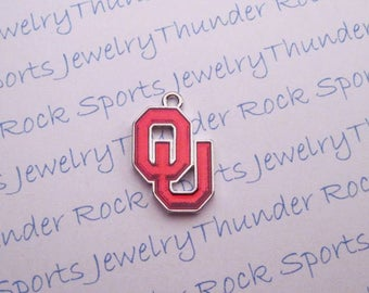 3 OKLAHOMA SOONERS Charms Antique Silver Plated with crimson red enamel University OU logo College Pendants