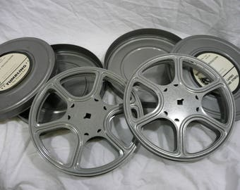 vintage Movie reels and cans 16mm film for projector or art