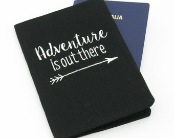 Adventure is out there Embroidered Passport Cover, Passport Holder, Passport Wallet, Passport Case, Travel Gift