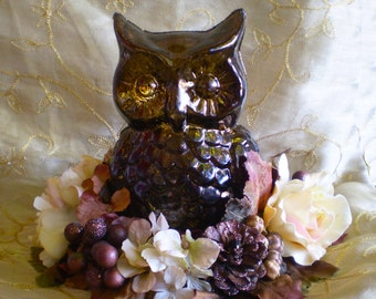 Halloween Autumn owl woodland floral arrangement centerpiece Thanksgiving flowers color changing light up LED fall home decoration