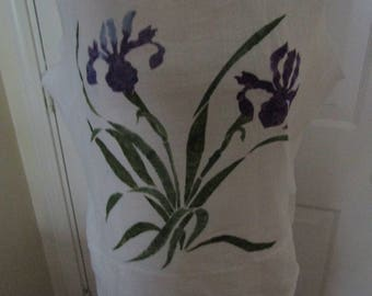 hand painted iris flower floral beach linen flour sack fabric summer spring tank cover up purple green top