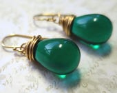 Earrings teal green  czech glass teardrop beads with antique gold wire wrapping