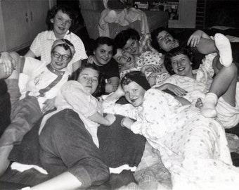 vintage photo 1951 Slumber Party Pajama Party Affectionate Young LAdies