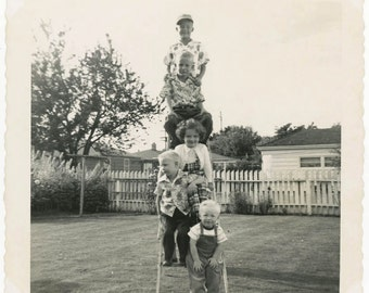 vintage photo 1952 Children Stack up on Ladder in the Yard Stair Step Kids
