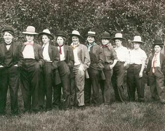 Vintage Photo Card Women Dressed as Young Men Cross Dress Lesbian Interest