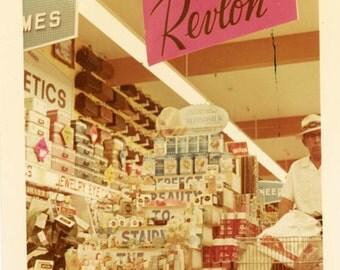 vintage photo 1970s Revlon Cosmetic Display Color Snapshot Drugstore