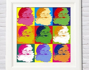 Instant Download! Santa Claus Pop Art Christmas Decor in Warhol Style Holidays - Two Sizes 12x12, 10x10