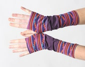 Colorful armwarmers, Fingerless gloves, Red, pink, purple long armwarmers, patchwork of purple jersey and multicolored knit, MALAM