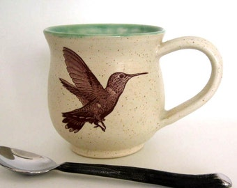 Stoneware Mug - Rufous Hummingbird -  14 oz - Ready to Ship - Hand Thrown Stoneware