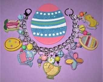 Easter Bracelet, Spring Bracelet, Easter Charm Bracelet, Easter Jewelry, Easter Eggs, Flower, Chick, Butterfly, Chunky Charms, OOAK