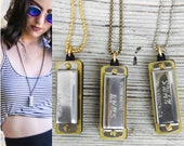 Harmonica Necklace, working Musical necklace, long necklace, men's necklace, brass ox Gold silver mini charm *BULK OPTIONS* n7