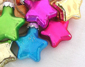NEW!  Hand Strung Colorful Glass Star Ornament Garland