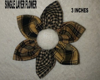 Set of 6 | Single Layer And Double Layered Hand Made Fabric Flowers | Black & Mustard Homespun | MADE TO ORDER
