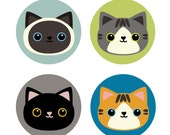 Set of 4 Cat Buttons | Cat Pins | Party Favors