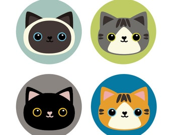Set of 4 Cat Buttons  - Free shipping