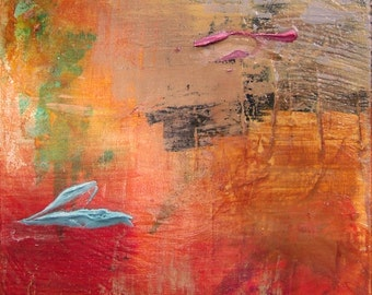 Echoes 18 - Original Signed Abstract Painting, Acrylics on Canvas, 12 x 12 inches by 1-1/2 inch deep