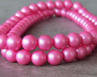 Bubblegum Pink 6mm Czech Glass Round Druk Bead : 1 Strand Round Pink 6mm Beads