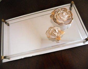 Vintage Mirror Tray Vanity Dresser Oblong Shabby Farmhouse Retro Chic Art Deco