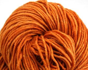 Hand Dyed Aran weight mini Empire Rambouillet Wool 213 yds 4oz Saffron Robes