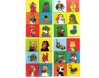 4 Vintage 1980s Picture Bingo Game Boards, Bright Nursery Art, Kids room Animal Wall Art, 80s Dutch Fabeltjeskrant Paper Ephemera Pack