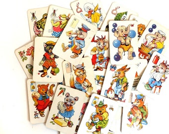 Vintage Old Maid Card Game, Complete Set Dutch Anthropomorphic Animals Flash Cards w Box, Paper Ephemera Lot 31 picture cards, zwarte piet
