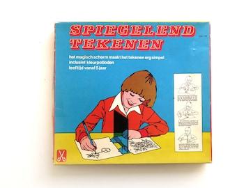 Vintage Drawing Set, Learn to draw, Magic Screen, Mirror Draw Game Toy, Spiegelend Tekenen, Dutch Hema