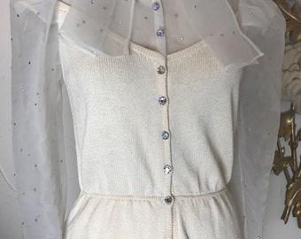 1980s knit set St John set cocktail dress sweater dress size medium vintage dress skirt and blouse