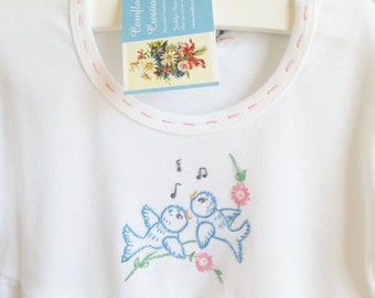 Singing Birds - Hand Embroidered Ruffle Dress 12 Months