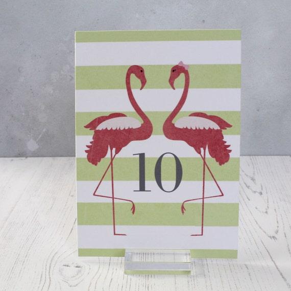 Wedding Table Number Cards - Flamingo Table Numbers - Beach Wedding Table Decor - 5x7 Table Number Signs - Flamingo Wedding