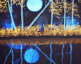Australian Cattle Dog Folk Art PRINT Todd Young painting Autumn Moon