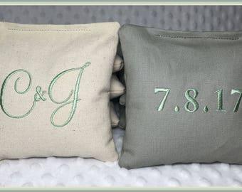 Wedding Cornhole Bags Personalized Set of 8 Cream and Light Grey Montey Font MINT Stitching