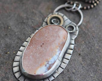 35% OFF - Druzy Agate Sterling Silver White Brass Necklace