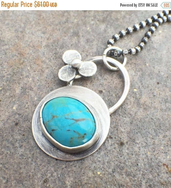 RESERVED 25% Off - Sterling Silver Turquoise Flower Necklace