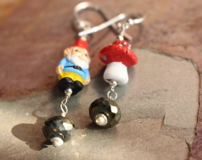 OOAK Limited Edition Gnome and Mushroom Earrings with Sterling Silver and Pyrite