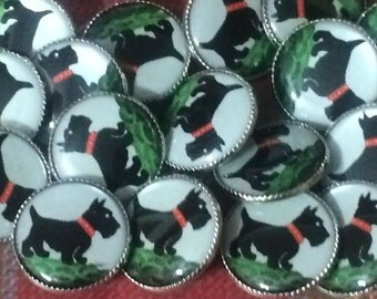 The Cutest Ever Retro Scottie Dog Round Button with Metal Frame .75""