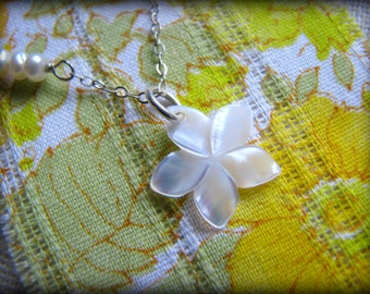 Plumeria Necklace, White Opalescent Shell, Small Petite, Hawaii Aloha Flower