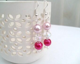 Pearl Bridesmaids Earrings, Pearl & Crystal Earrings, Pearl Beaded Earrings Custom Colours, Wedding Jewelry, Listing for 1 Pair of Earrings
