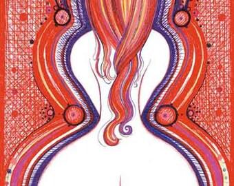 ORIGINAL Bedroom Art Modern drawing Erotic artistic Nude Woman Female Redhead Red wall decor artwork