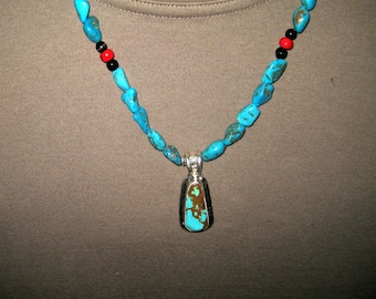Turquoise pendant necklace, turquoise nugget necklace, sterling silver pendant necklace, Native American, southwest design, mens jewelry