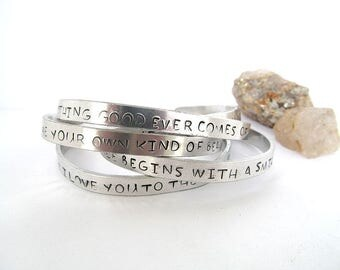 Inspirational Bracelet, Personalized Cuff Bracelet, Mothers Day, Quote Jewelry, Hand Stamped Message Bracelet