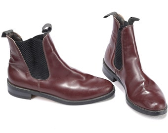 Burgundy CHELSEA ANKLE Boots Mens 90s Vintage Western Beatle Real Leather Cowboy Hipster Half Booties size US men 7.5, Uk 7, Eur 40