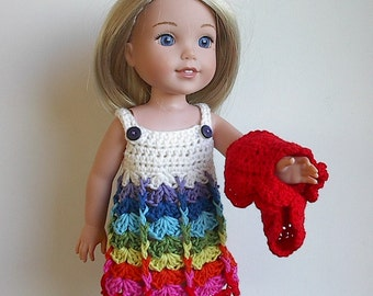 "14.5"" Doll Clothes Crocheted Dress and Bolero Shrug Handmade to fit Wellie Wishers dolls - White with Rainbow Colors"