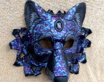READY TO SHIP Celestial Amethyst Dire Wolf Leather Mask... costume galaxy stars masquerade burning man mardi gras halloween festival