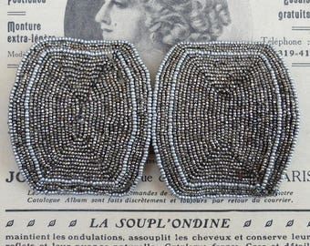 Antique Shoe Buckle Two Micro Cut Steel Beaded Accessory France