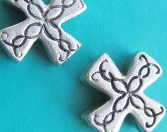 Greek Byzantine Cross Crucifix Fancy silver Pewter Beads x 2