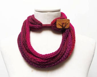 Knit Infinity Scarf Necklace, Loop Scarlette Neckwarmer - Cherry, Red, Burgundy, Bordeaux ombre yarn with big wood button - Handmade